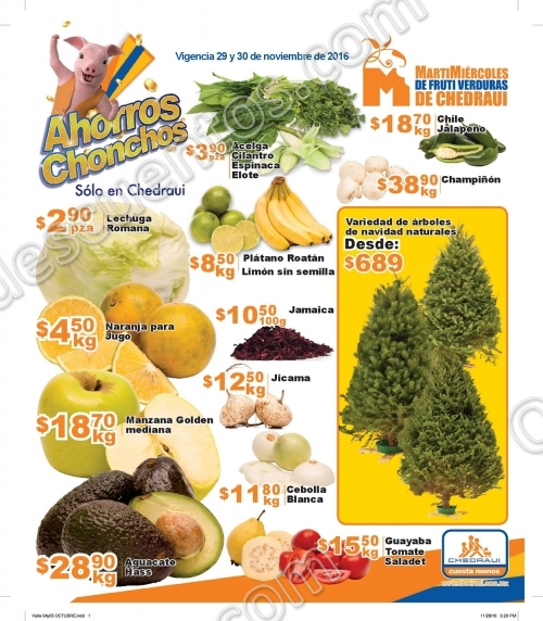 Frutas y Verduras en Chedraui 29 y 30 de Noviembre 2016