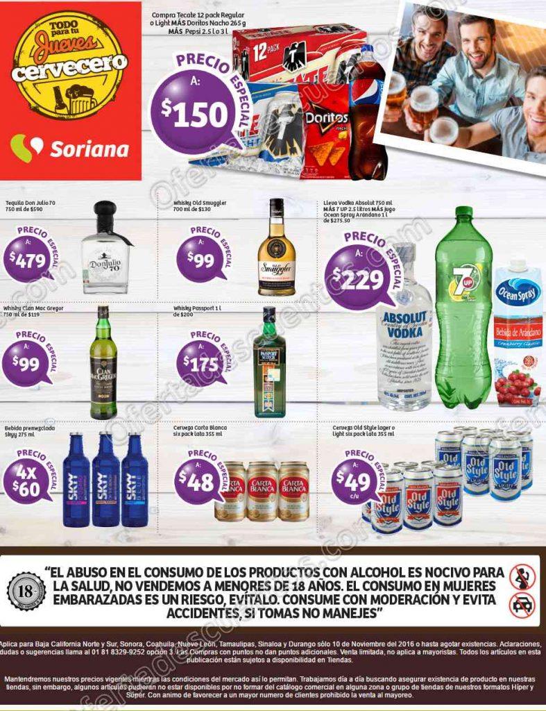 Soriana: Jueves Cervecero del 10 Noviembre