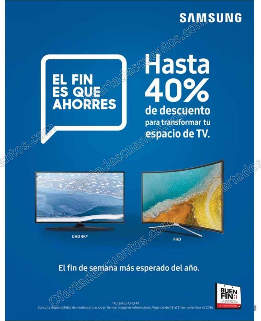 Buen Fin 2016 Samsung Hasta 40% de Descuento en Pantallas