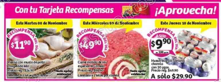 Soriana: Promociónes Tarjeta Recompensa del 8 al 10 de Noviembre