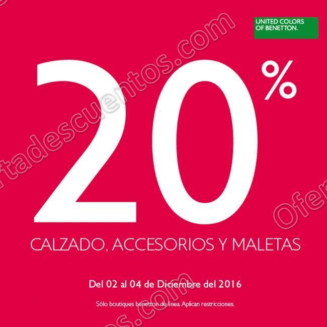 Benetton: 20% de descuento en Calzado, Accesorios y Maletas del 2 al 4 de Diciembre
