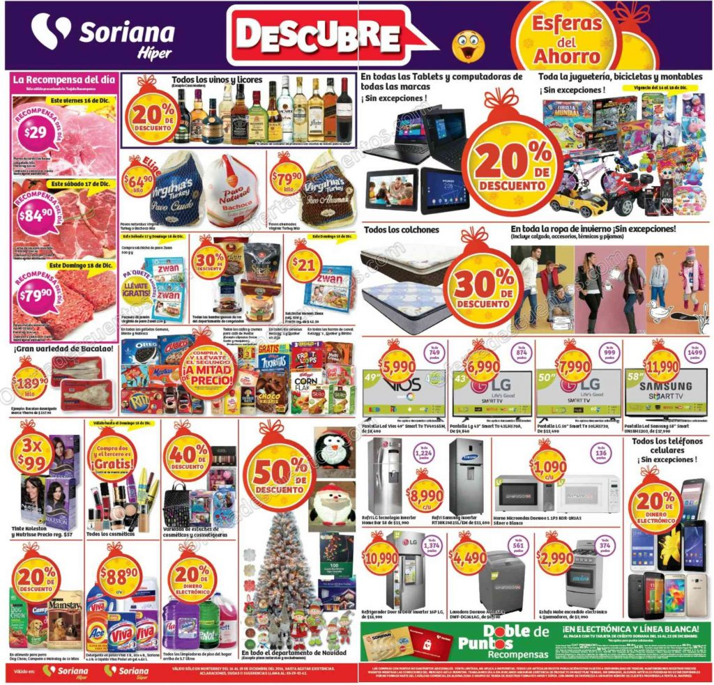 Promociones de Fin de Semana en Soriana del 16 al 19 de Diciembre 2016.