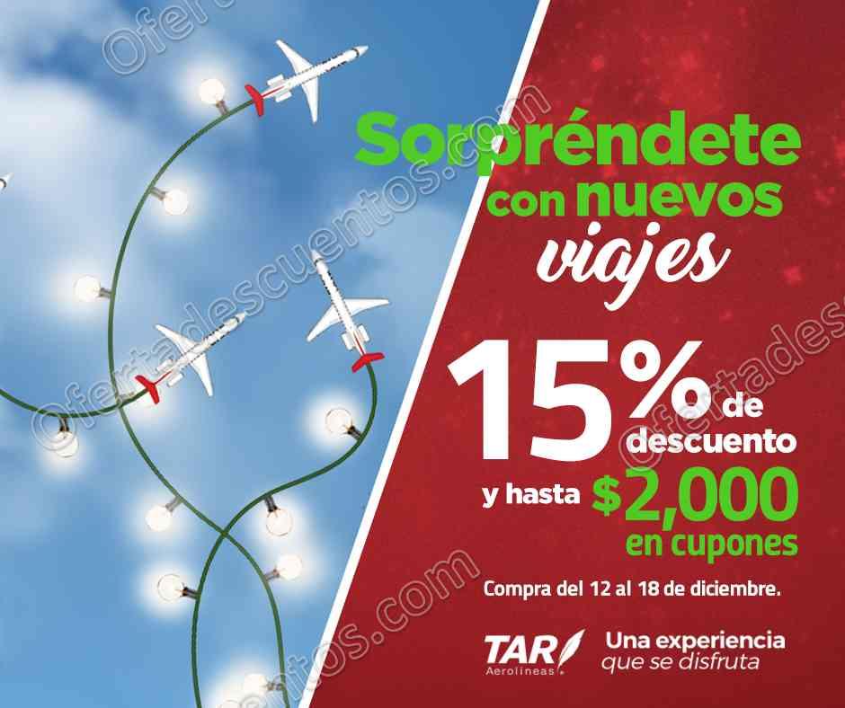 TAR Aerolíneas: 15% de descuento más hasta $2,000 en cupones del 12 al 18 de Diciembre