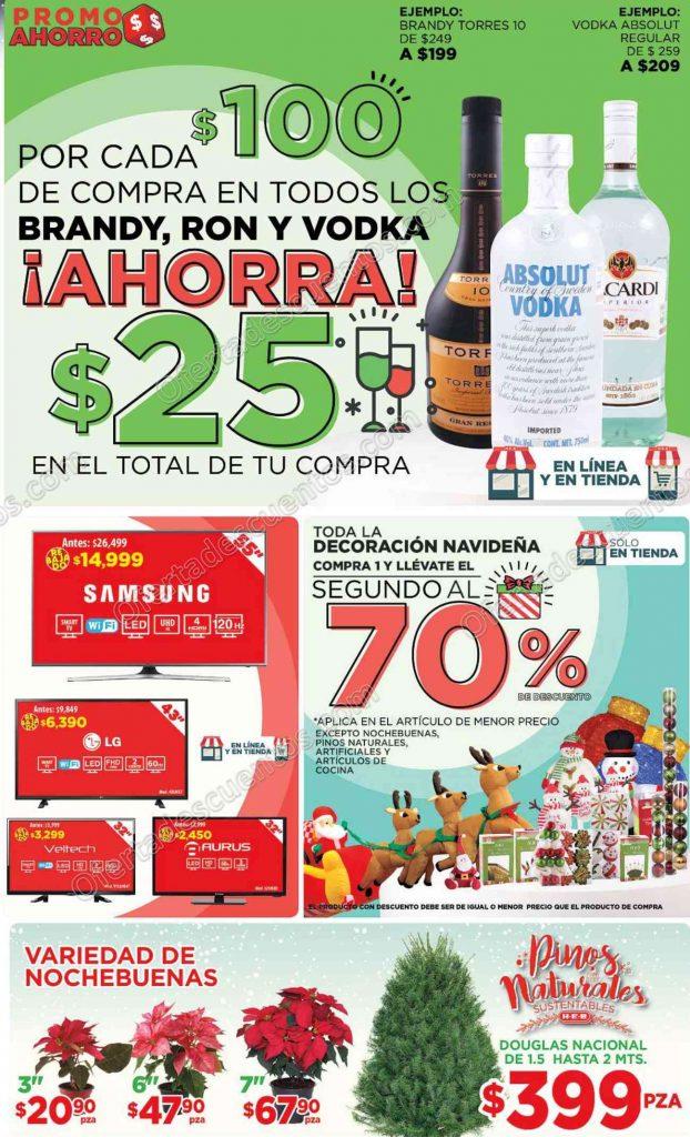 HEB: Promociones de Fin de Semana $25 de descuento por cada $100 en Brandy, Ron y Vodka al 5 de Diciembre