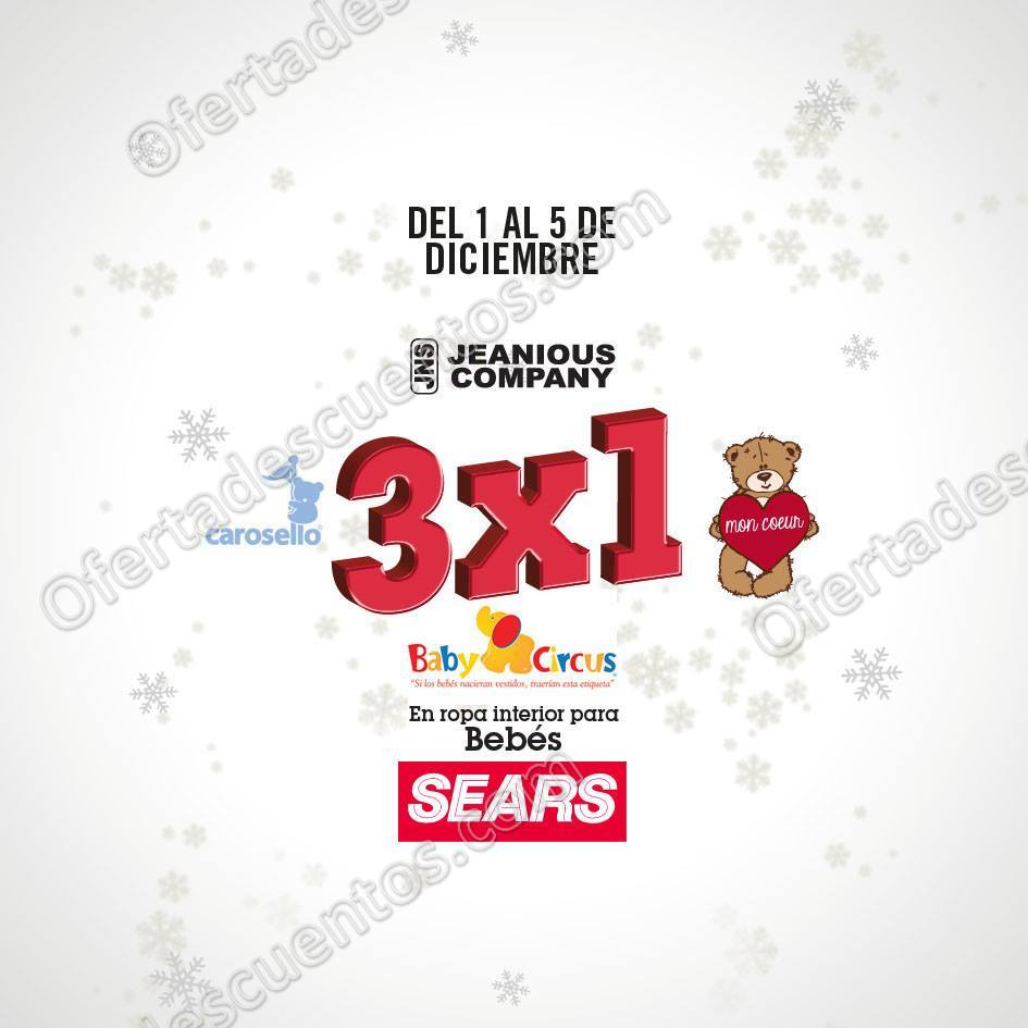 Sears: 3×1 en ropa interior para Bebés del 1 al 5 de Diciembre