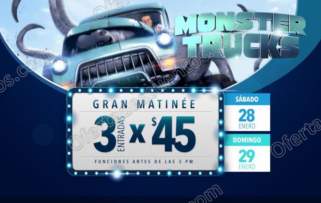 Cinépolis: 3 Entradas Matinée por $45 para Monster Truks