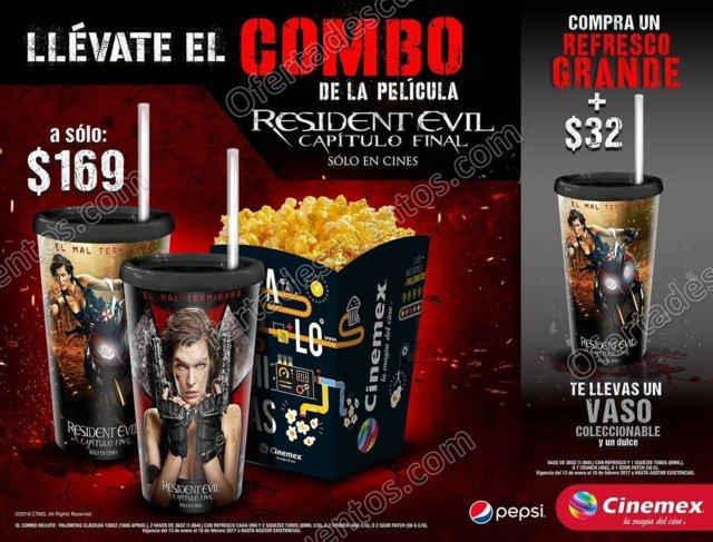 Cinemex: Combo Resident Evil Palomitas Grandes más 2 Vasos coleccionables con Refresco más 2 dulces por $169