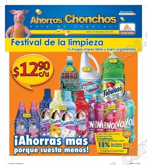 """Chedraui: Folleto de Promociones """"Festival de la limpieza"""" del 6 al 18 de Enero"""