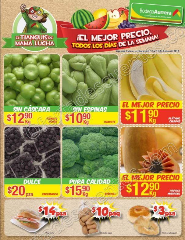 Bodega Aurrerá: Frutas y Verduras Tiánguis de Mamá Lucha del 13 al 19 de Enero