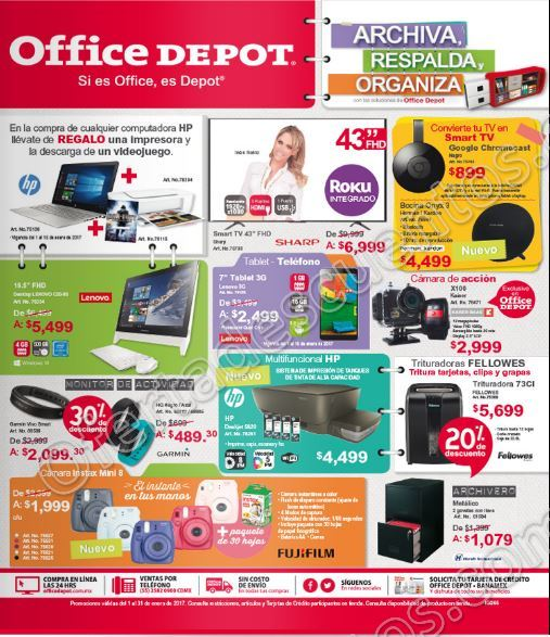 Office Depot: Folleto de promociones Enero 2017