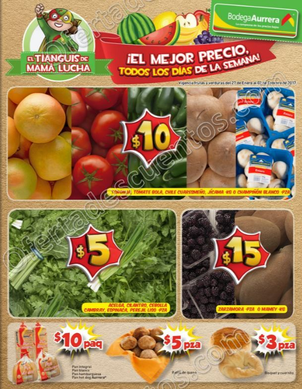 Bodega Aurrerá: Frutas y Verduras Tiánguis de Mamá Lucha del 27 de enero al 2 de Febrero