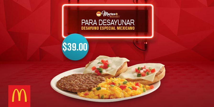 McDonalds': Cupón Martes 3 de Enero Desayuno Especial Mexicano a $39
