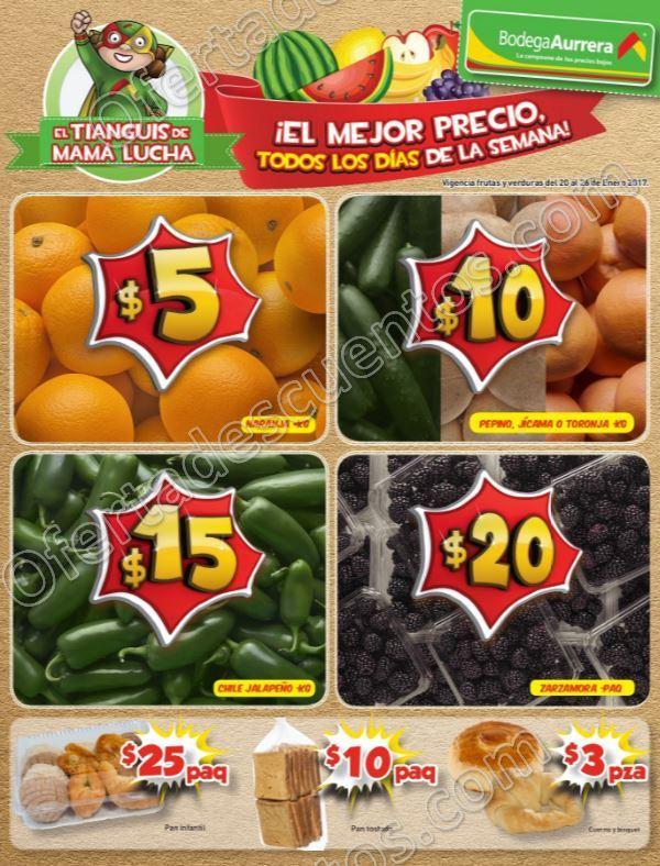 Bodega Aurrerá: Frutas y Verduras Tiánguis de Mamá Lucha del 20 al 26 de Enero 2017
