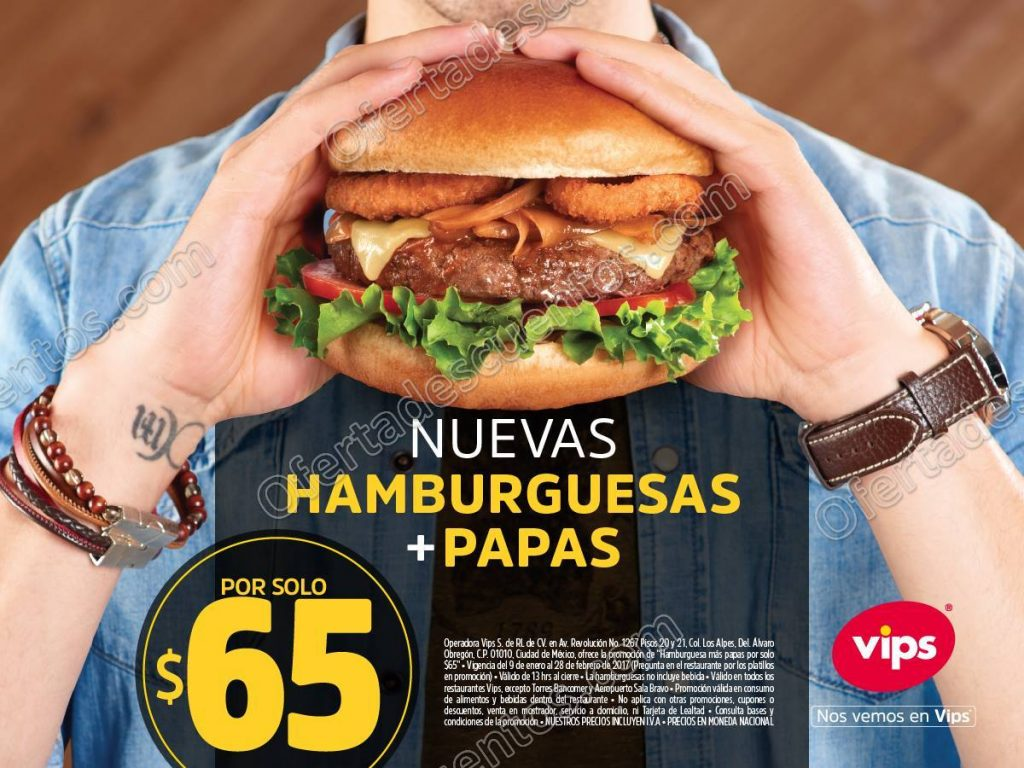 Vips: Nuevas Hamburguesas más Papas por $65 a partir de las 1:00 pm