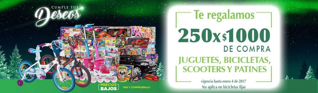 Comercial Mexicana: $250 por cada $1000 de compra en juguetes, bicicletas y scooters