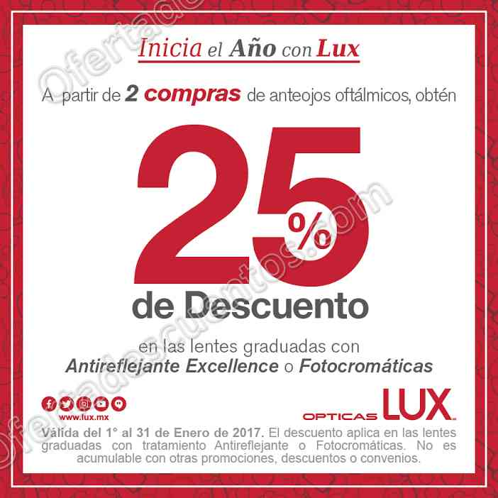 Opticas Lux: 25% en Lentes Graduadas con Antireflejantes en Segunda Compra