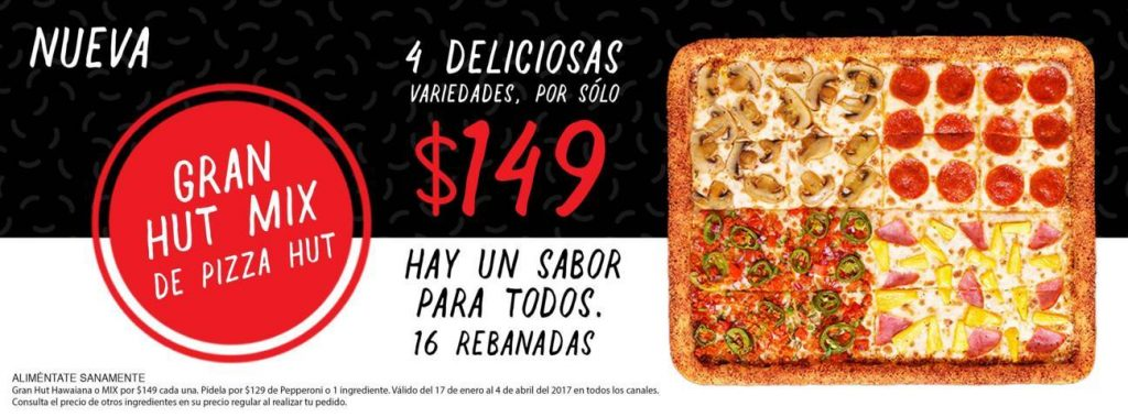 Pizza hut gran hut 4 variedades a 149 o a 129 con 1 for Oficinas de pizza hut