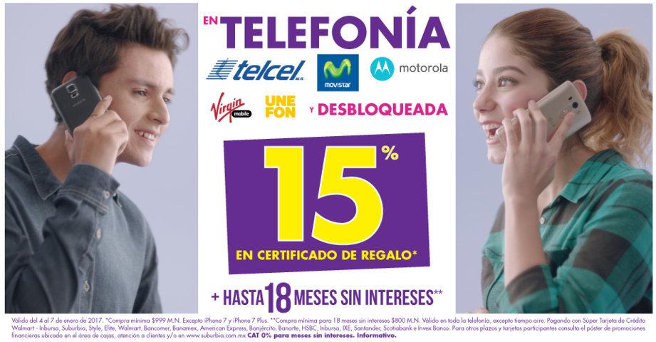 Suburbia: 15% en Certificado de Regalo en Telefonía