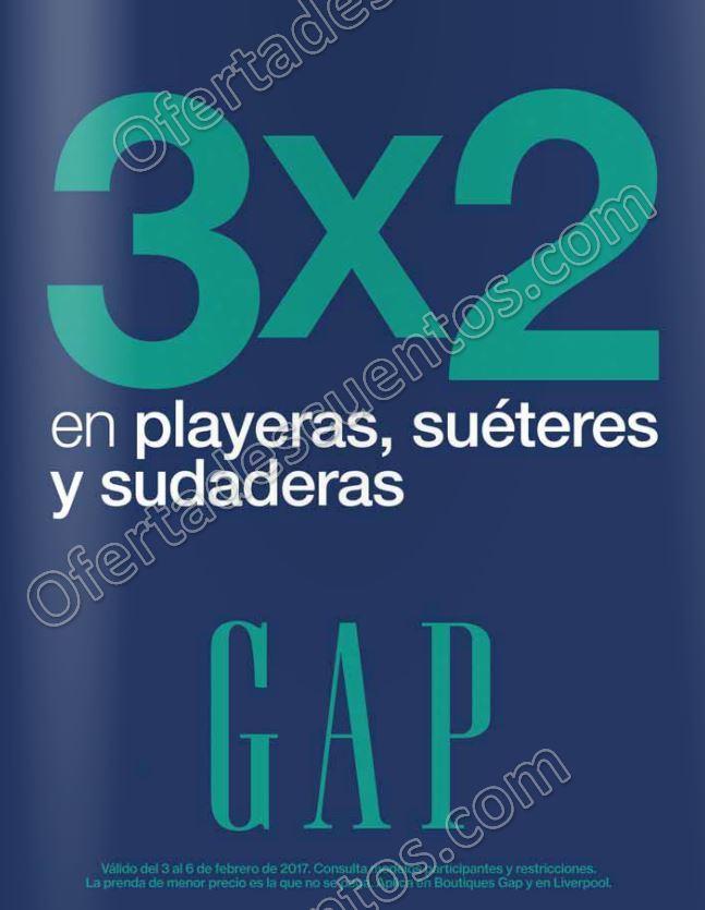 GAP: 3×2 en Playeras, Suéteres y Sudaderas del 3 al 8 de Febrero