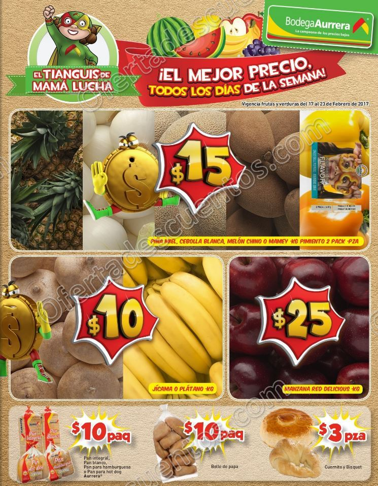 Bodega Aurrerá: Frutas y Verduras Tiánguis de Mamá Lucha del 17 al 23 de Febrero