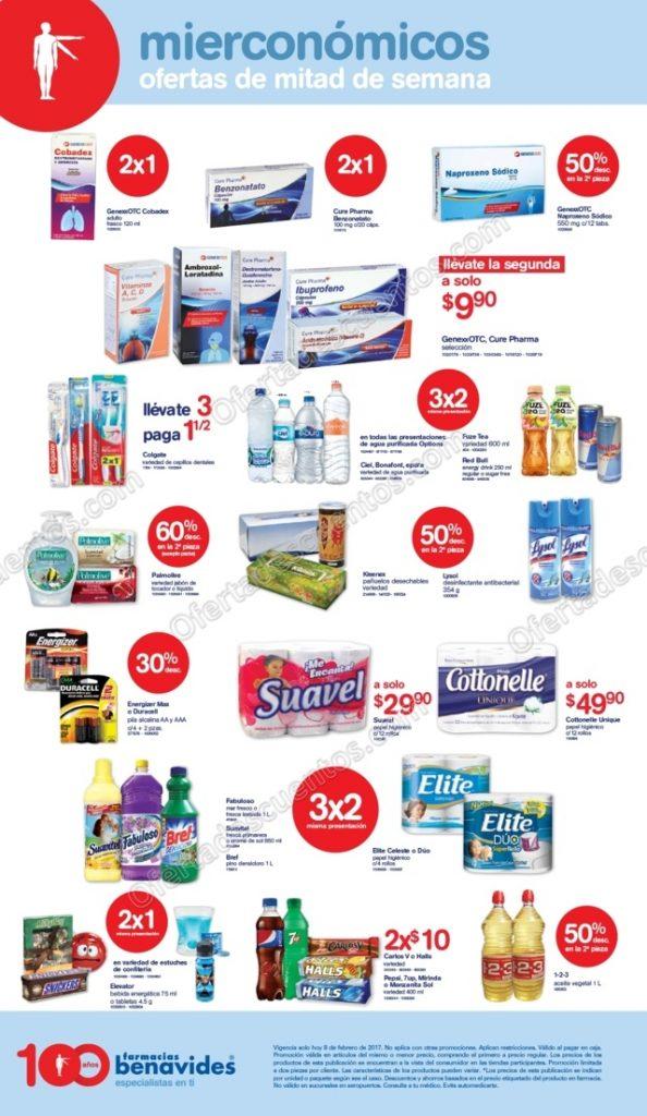 Farmacias Benavides: Ofertas Mierconómicos 8 de Febrero