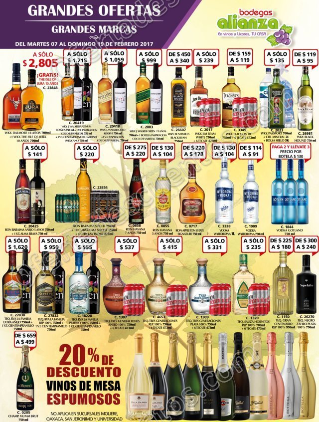 Bodegas Alianza: Ofertas en Vinos y Licores del 7 al 19 de Febrero