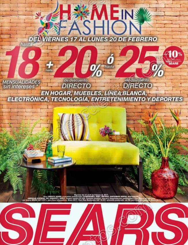 Sears: Promoción Home In Fashion 25% de descuento en hogar, muebles y más del 17 al 20 de Febrero