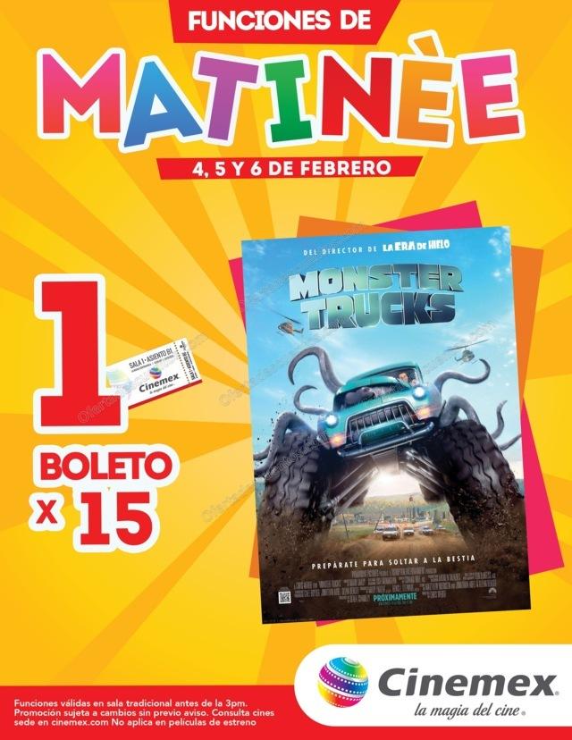 Cinemex: 1 Boleto a $15 para Monster Truck Funciones matinée 4, 5 y 6 de Febrero