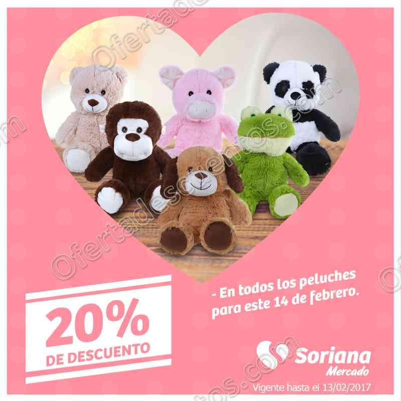 Soriana Mercado: 20% de descuento en todos los peluches y más sólo 13 de febrero