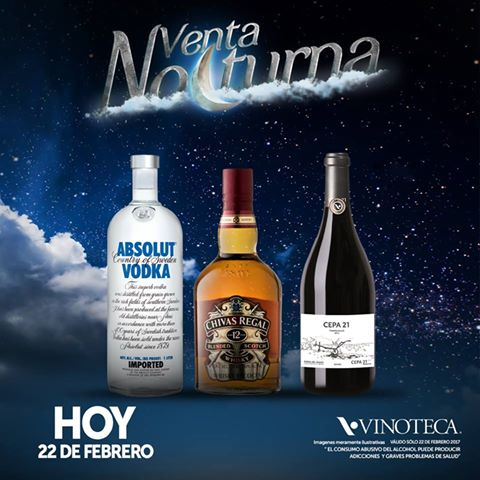 Venta Nocturna Vinoteca Miércoles 22 de Febrero 2017