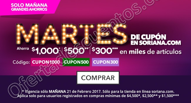 Soriana: Cupones de Hasta $1,000 de Descuento en Tienda en Linea