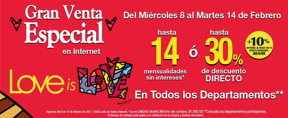 Gran Venta Especial Sears Por Internet del 8 al 14 de Febrero
