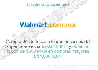 Walmart: $500 de Bonificación Más 12 Meses Sin Intereses con PayPal