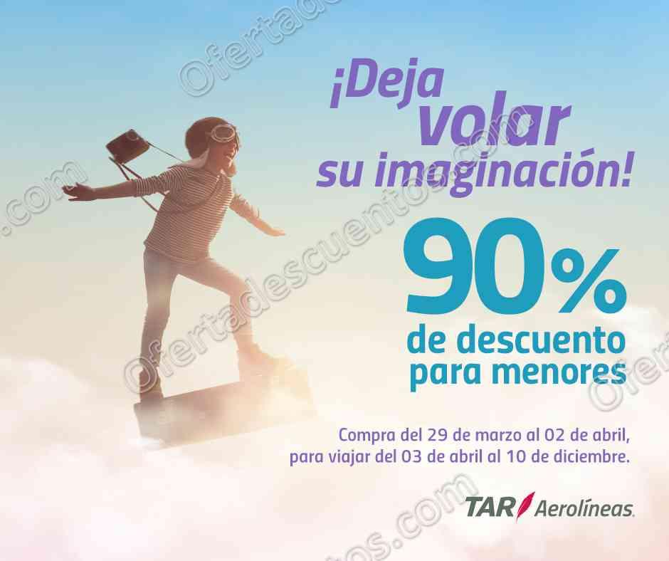 TAR Aerolíneas: 90% de descuento a menores en todas las rutas del 29 de marzo al 2 de abril