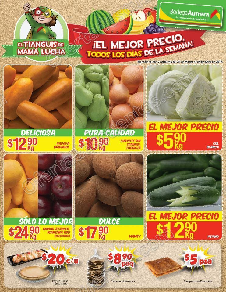 Bodega Aurrerá: Frutas y Verduras Tiánguis de Mamá Lucha del 31 de marzo al 6 de abril