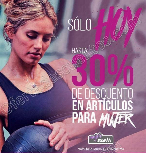 Martí: Promoción Día de la Mujer hasta 30% de descuento en artículos para dama sólo 8 de Marzo