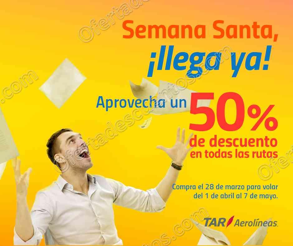 TAR Aerolíneas: Promoción Semana Santa 50% de descuento en vuelos sólo hoy