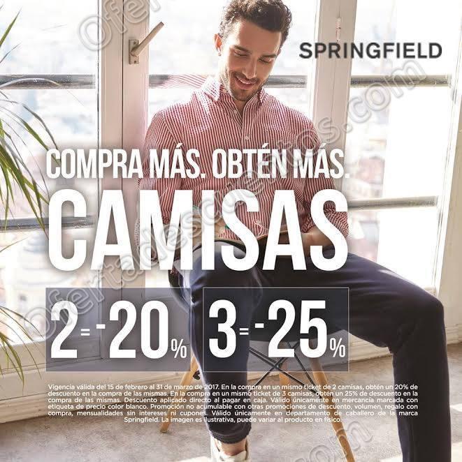Springfield: Hasta 25% de descuento en Camisas y Pantalones al 31 de Marzo