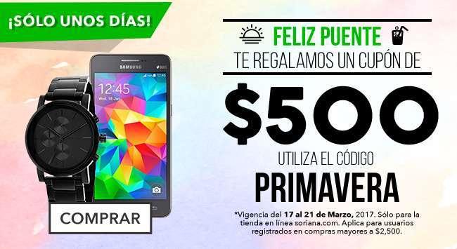 Soriana: Cupón de $500 Pesos En Compras de $2,500