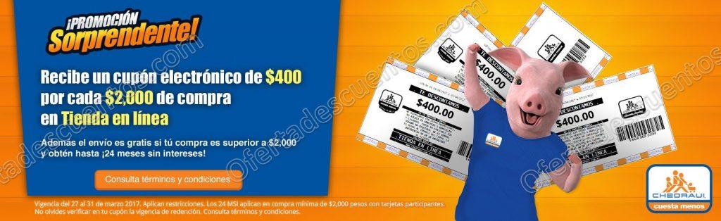 Chedraui: Recibe Cupón de $400 por cada $2,000 de compra en Tienda en Línea Chedraui