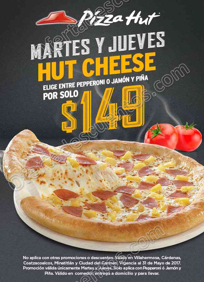 Pizza Hut: Martes y Jueves Hut Cheese por $149 Pesos