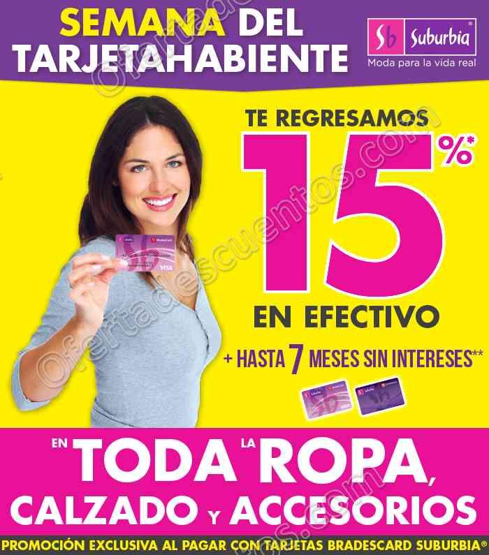 Suburbia: Semana del Tarjetahabiente 15% en Efectivo en Calzado, Ropa y Accesorios