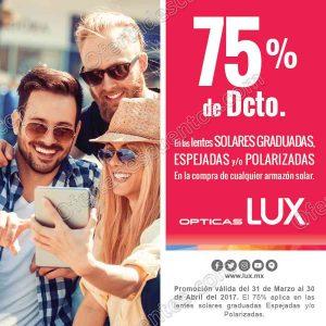 Ópticas Lux: 75% de descueto en lentes solares graduadas, espejadas o polarizadas