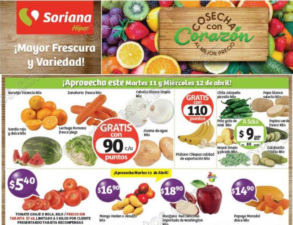 Frutas y Verduras Soriana 11 y 12 Abril 2017
