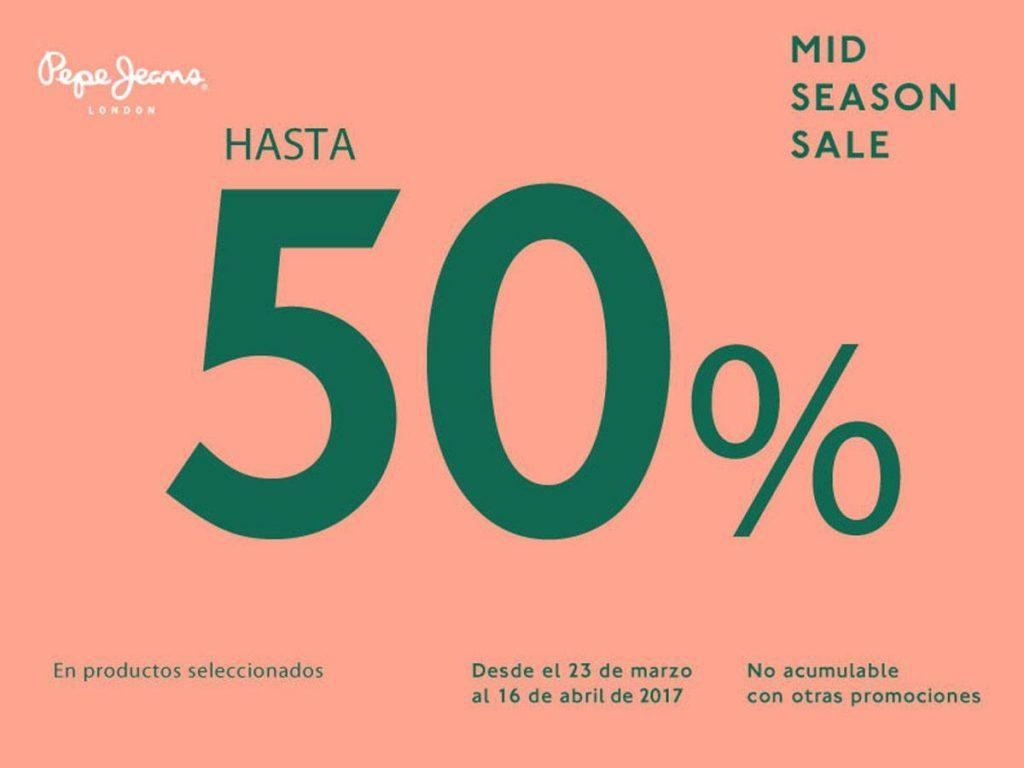 Pepe Jeans: Rebajas de mitad de temporada hasta 50% de descuento en mercancía seleccionada
