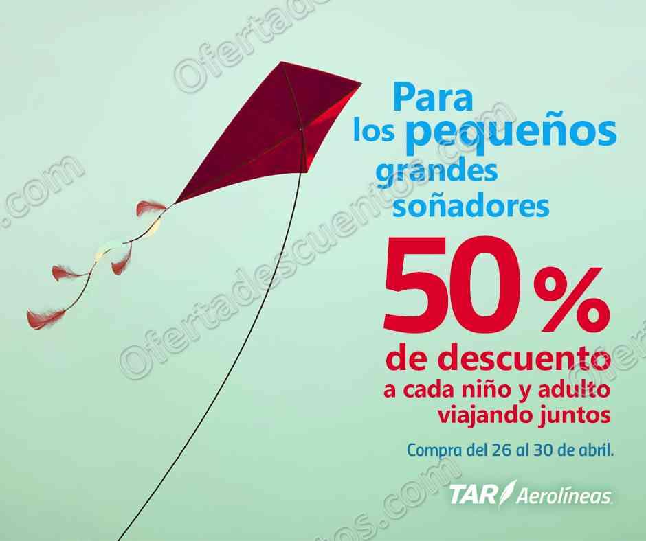 TAR Aerolíneas: Promoción Día del Niño 50% de descuento por cada niño y adulto viajando juntos