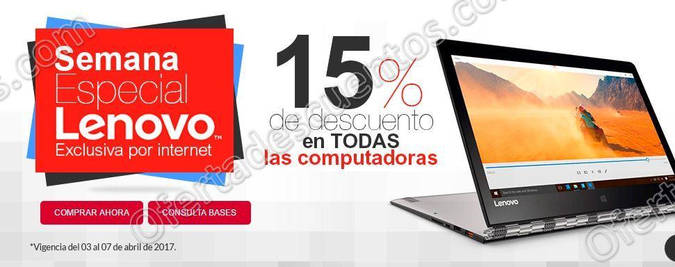 Office Depot: Semana Lenovo 15% de descuento en Computadoras del 3 al 7 de Abril
