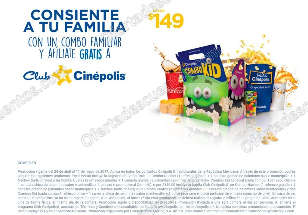 Cinépolis: Combo Familiar Desde $149 más Tarjeta Club Cinépolis Gratis
