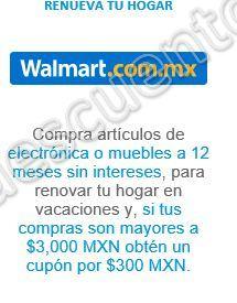 Walmart: $300 en Cupon es en Compras de $3,000 Pesos