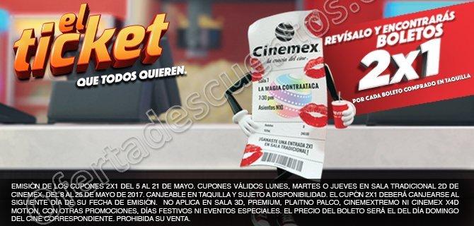 Cinemex: 2×1 en Tickets de Cada Boleto Comprado en Taquilla